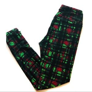 NWOT LuLaRoe Holiday Holly Plaid Leggings Green OS
